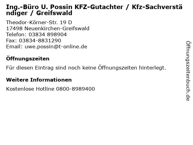 Ing.-Büro U. Possin KFZ-Gutachter / Kfz-Sachverständiger / Greifswald in Neuenkirchen-Greifswald: Adresse und Öffnungszeiten