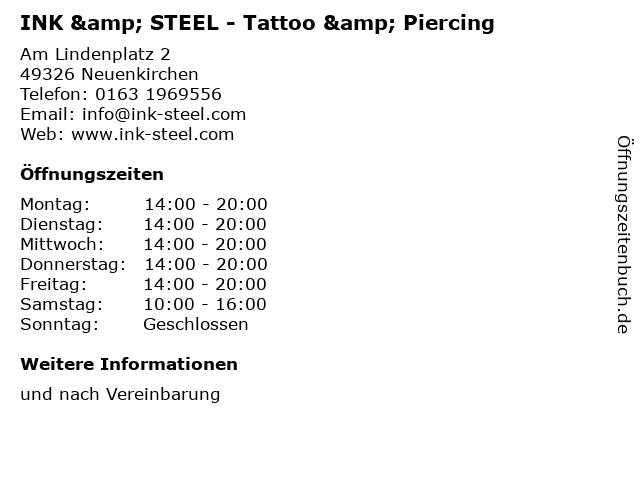 INK & STEEL - Tattoo & Piercing in Neuenkirchen: Adresse und Öffnungszeiten