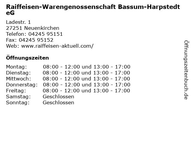 Raiffeisen-Warengenossenschaft Bassum-Harpstedt eG in Neuenkirchen: Adresse und Öffnungszeiten