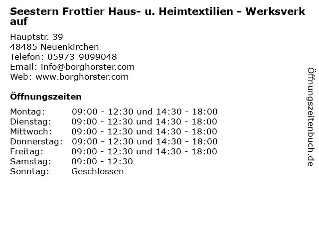 Seestern Frottier Haus- u. Heimtextilien - Werksverkauf in Neuenkirchen: Adresse und Öffnungszeiten