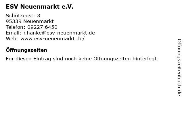 ESV Neuenmarkt e.V. in Neuenmarkt: Adresse und Öffnungszeiten