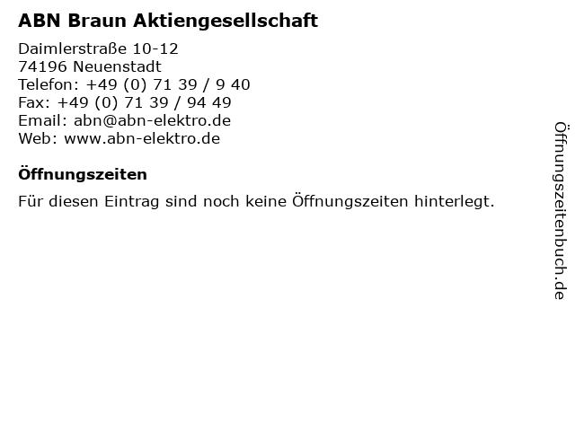 ABN Braun Aktiengesellschaft in Neuenstadt: Adresse und Öffnungszeiten