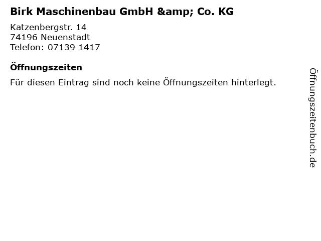 Birk Maschinenbau GmbH & Co. KG in Neuenstadt: Adresse und Öffnungszeiten