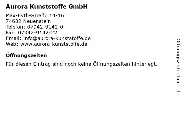 Aurora Kunststoffe GmbH in Neuenstein: Adresse und Öffnungszeiten
