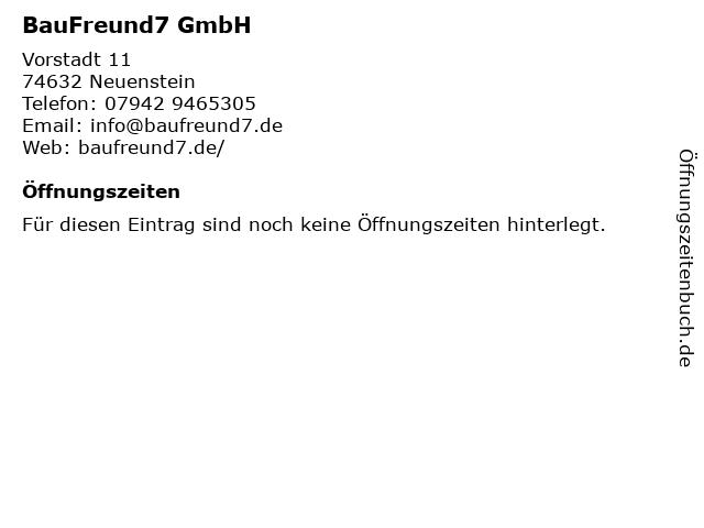 BauFreund7 GmbH in Neuenstein: Adresse und Öffnungszeiten