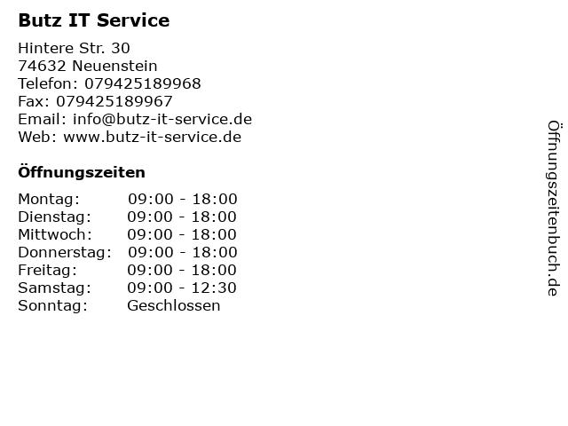 Butz IT Service in Neuenstein: Adresse und Öffnungszeiten