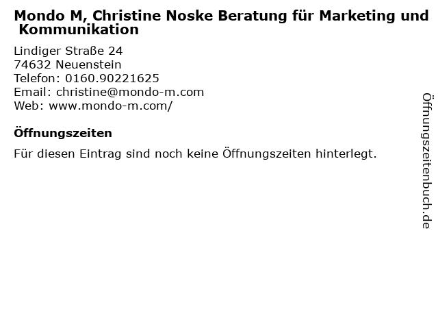 Mondo M, Christine Noske Beratung für Marketing und Kommunikation in Neuenstein: Adresse und Öffnungszeiten