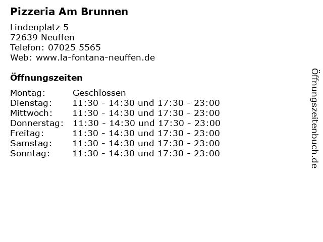 Pizzeria Am Brunnen in Neuffen: Adresse und Öffnungszeiten