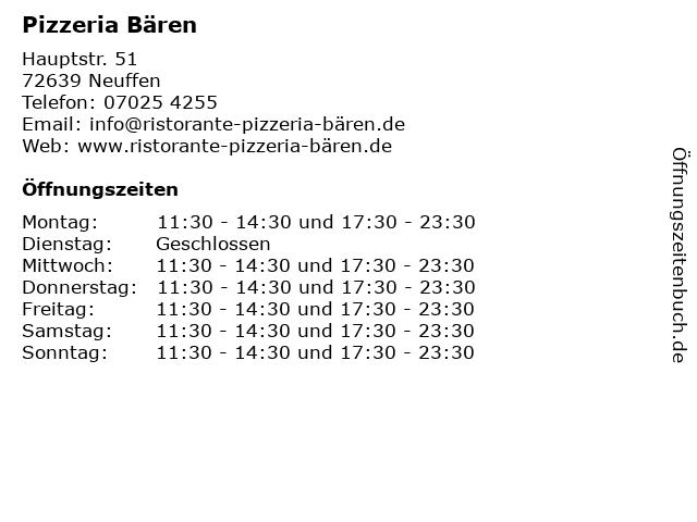 Pizzeria Bären in Neuffen: Adresse und Öffnungszeiten