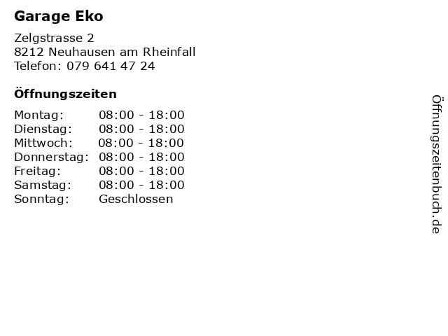 Garage Eko in Neuhausen am Rheinfall: Adresse und Öffnungszeiten