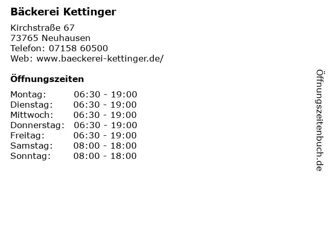 Bäckerei Kettinger in Neuhausen: Adresse und Öffnungszeiten