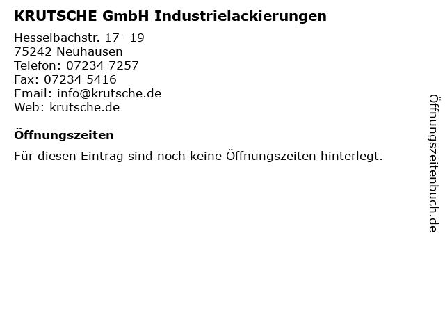KRUTSCHE GmbH Industrielackierungen in Neuhausen: Adresse und Öffnungszeiten