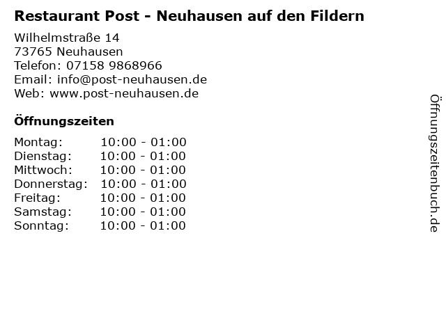 Restaurant Post - Neuhausen auf den Fildern in Neuhausen: Adresse und Öffnungszeiten