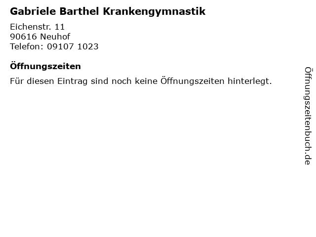 Gabriele Barthel Krankengymnastik in Neuhof: Adresse und Öffnungszeiten