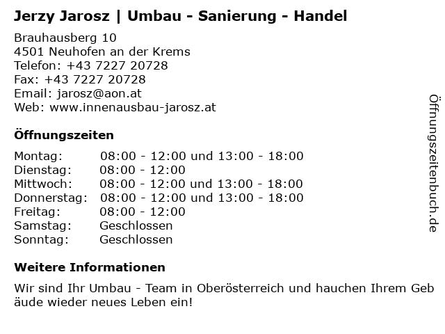Jerzy Jarosz | Umbau - Sanierung - Handel in Neuhofen an der Krems: Adresse und Öffnungszeiten