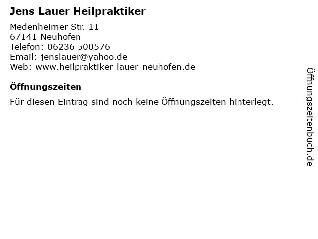 Jens Lauer Heilpraktiker in Neuhofen: Adresse und Öffnungszeiten