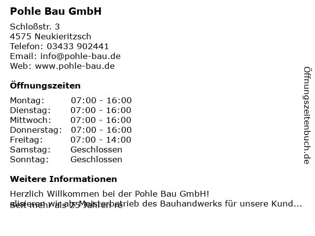 Pohle Bau GmbH in Lobstädt: Adresse und Öffnungszeiten
