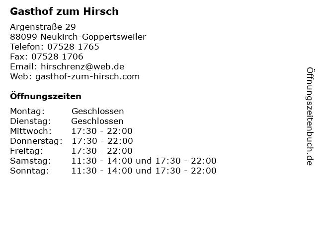 Gasthof zum Hirsch in Neukirch-Goppertsweiler: Adresse und Öffnungszeiten