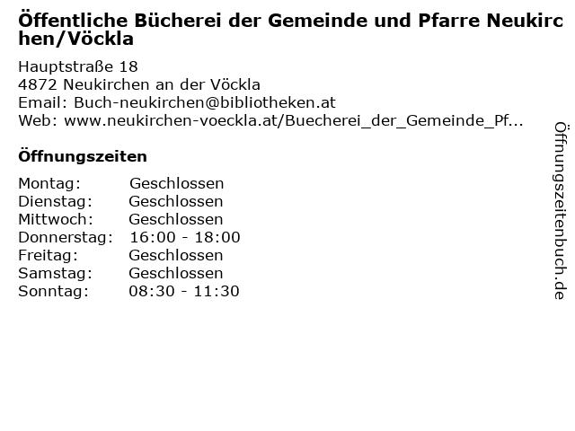 Öffentliche Bücherei der Gemeinde und Pfarre Neukirchen/Vöckla in Neukirchen an der Vöckla: Adresse und Öffnungszeiten