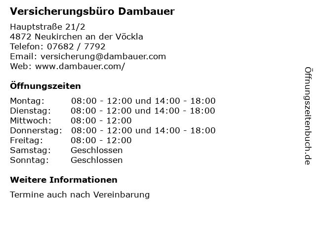Versicherungsbüro Dambauer in Neukirchen an der Vöckla: Adresse und Öffnungszeiten