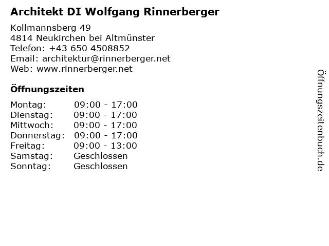 Dipl.Ing. Rinnerberger + Partner ZT-KG - Architekt in Gmunden: Adresse und Öffnungszeiten