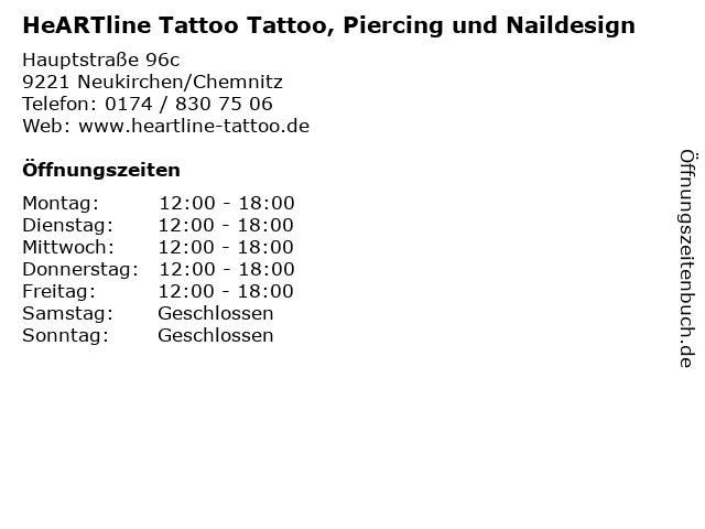HeARTline Tattoo Tattoo, Piercing und Naildesign in Neukirchen/Chemnitz: Adresse und Öffnungszeiten
