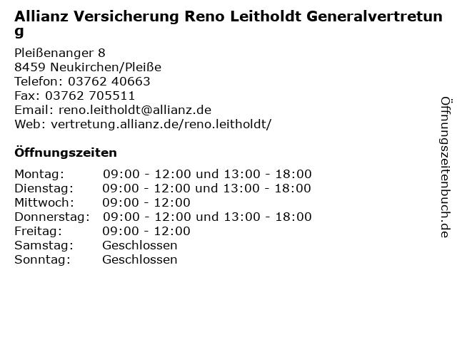 Allianz Reno Leitholdt in Neukirchen: Adresse und Öffnungszeiten