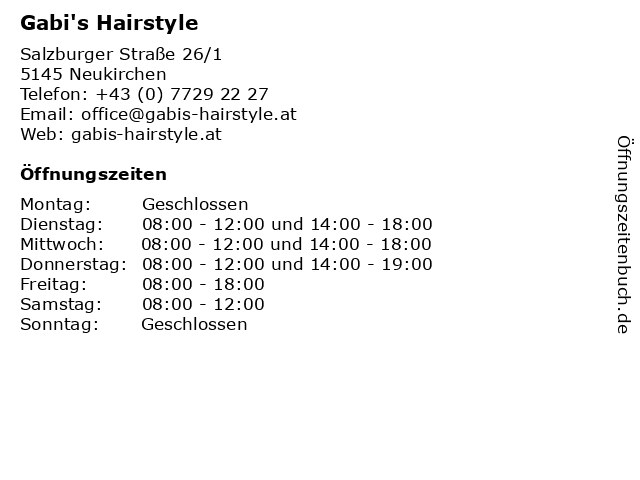Gabi's Hairstyle in Neukirchen: Adresse und Öffnungszeiten