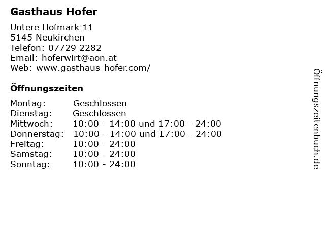 Gasthaus Hofer in Neukirchen: Adresse und Öffnungszeiten