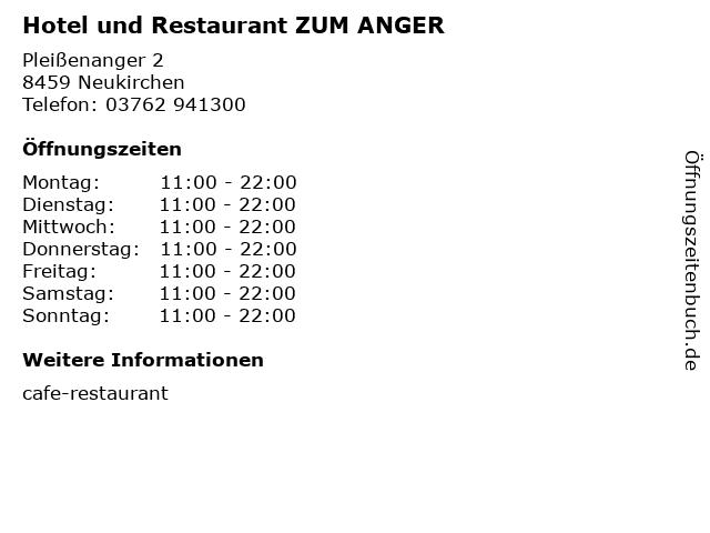 Hotel und Restaurant ZUM ANGER in Neukirchen: Adresse und Öffnungszeiten