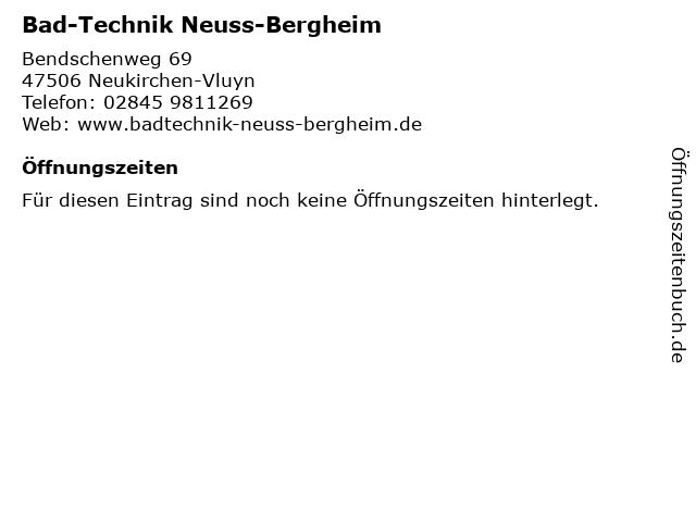 Bad-Technik Neuss-Bergheim in Neukirchen-Vluyn: Adresse und Öffnungszeiten