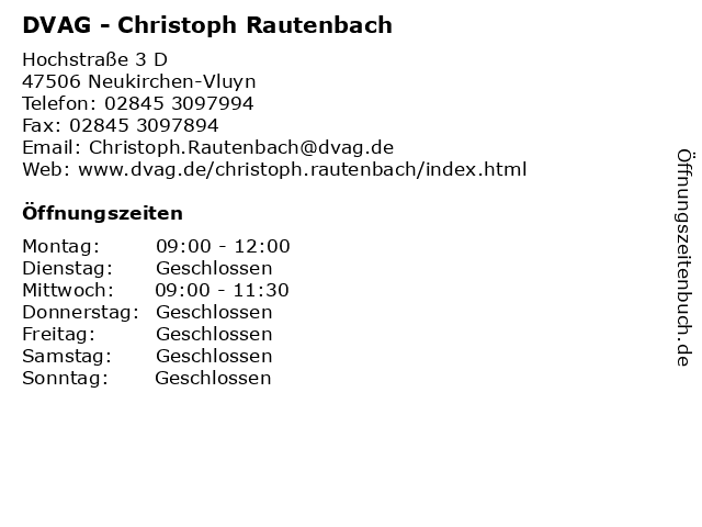 DVAG - Christoph Rautenbach in Neukirchen-Vluyn: Adresse und Öffnungszeiten