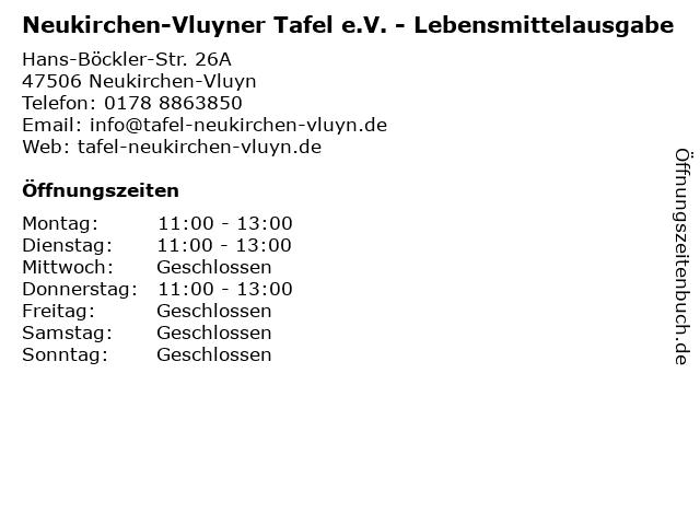 Neukirchen-Vluyner Tafel e.V. - Lebensmittelausgabe in Neukirchen-Vluyn: Adresse und Öffnungszeiten