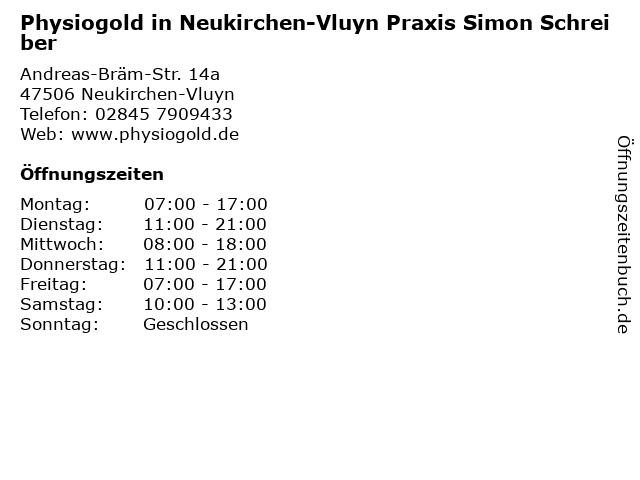 Physiogold in Neukirchen-Vluyn Praxis Simon Schreiber in Neukirchen-Vluyn: Adresse und Öffnungszeiten