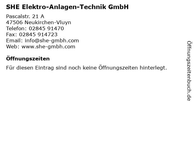 SHE Elektro-Anlagen-Technik GmbH in Neukirchen-Vluyn: Adresse und Öffnungszeiten