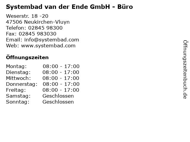 Systembad van der Ende GmbH - Büro in Neukirchen-Vluyn: Adresse und Öffnungszeiten