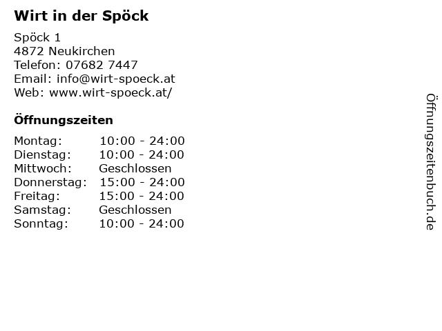 Wirt in der Spöck in Neukirchen: Adresse und Öffnungszeiten