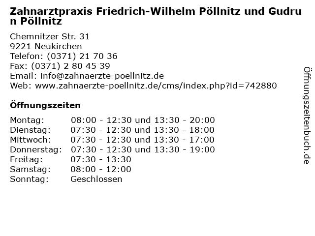 Zahnarztpraxis Friedrich-Wilhelm Pöllnitz und Gudrun Pöllnitz in Neukirchen: Adresse und Öffnungszeiten