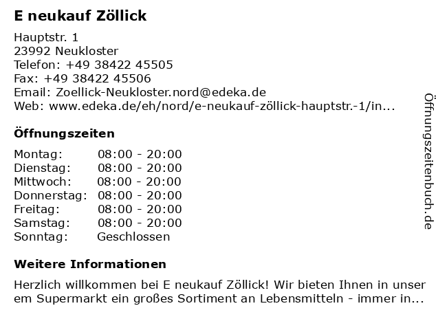 E neukauf Zöllick in Neukloster: Adresse und Öffnungszeiten