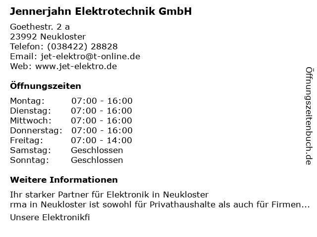 Jennerjahn Elektrotechnik GmbH in Neukloster: Adresse und Öffnungszeiten