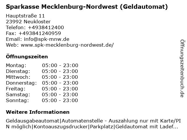Sparkasse Mecklenburg-Nordwest - (Geldautomat Geschäftsstelle) in Neukloster: Adresse und Öffnungszeiten