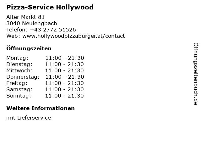 Pizza-Service Hollywood in Neulengbach: Adresse und Öffnungszeiten