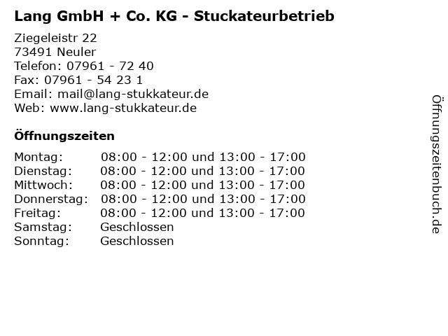 Lang GmbH + Co. KG - Stuckateurbetrieb in Neuler: Adresse und Öffnungszeiten