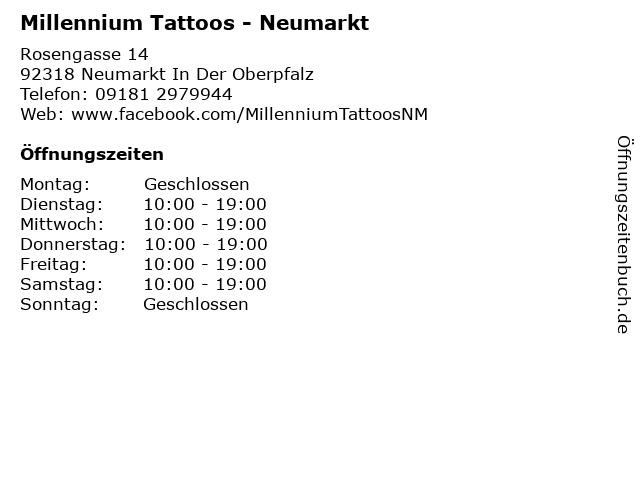Millennium Tattoos - Neumarkt in Neumarkt In Der Oberpfalz: Adresse und Öffnungszeiten