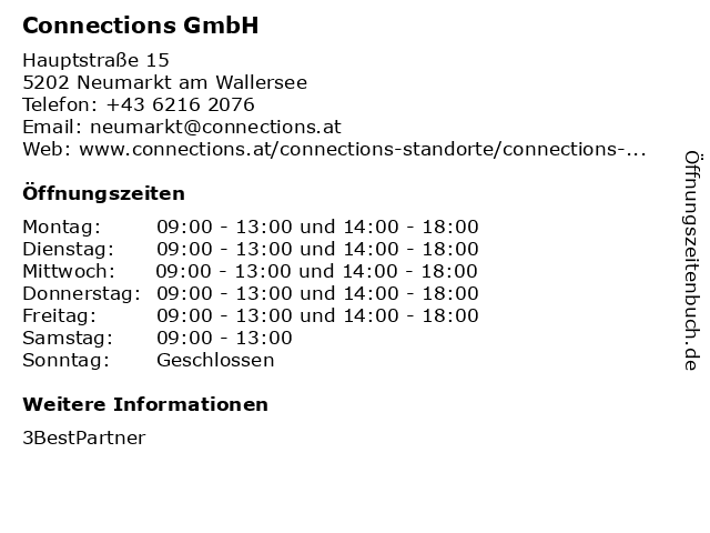 Connections GmbH in Neumarkt am Wallersee: Adresse und Öffnungszeiten