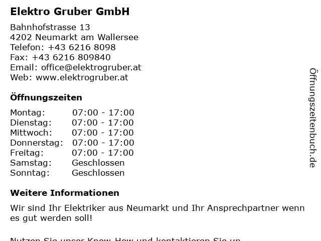 Elektro Gruber GmbH in Neumarkt am Wallersee: Adresse und Öffnungszeiten