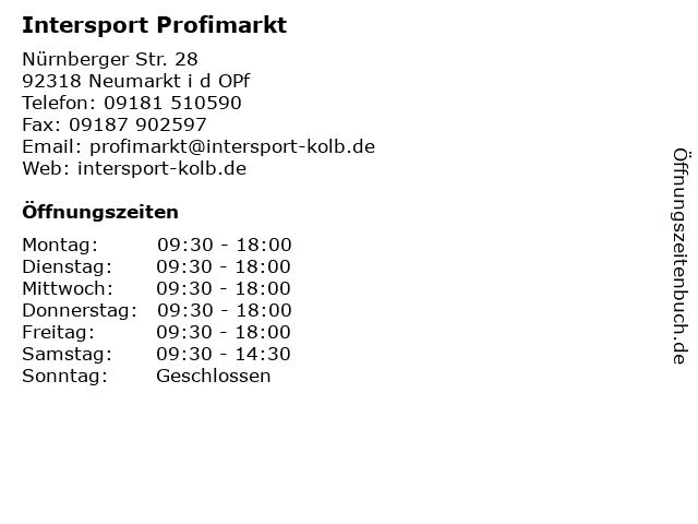 Intersport Profimarkt in Neumarkt i d OPf: Adresse und Öffnungszeiten
