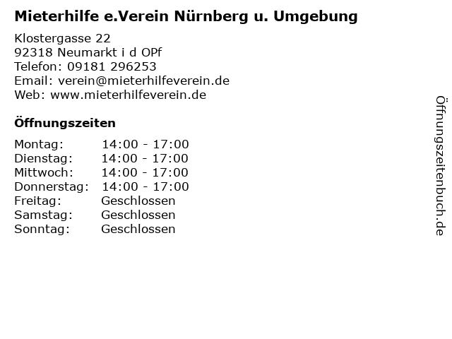 Mieterhilfe e.Verein Nürnberg u. Umgebung in Neumarkt i d OPf: Adresse und Öffnungszeiten