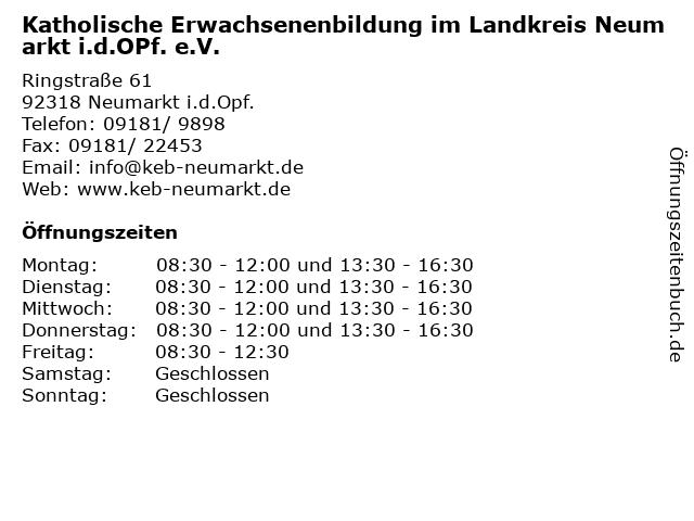 Katholische Erwachsenenbildung im Landkreis Neumarkt i.d.OPf. e.V. in Neumarkt i.d.Opf.: Adresse und Öffnungszeiten