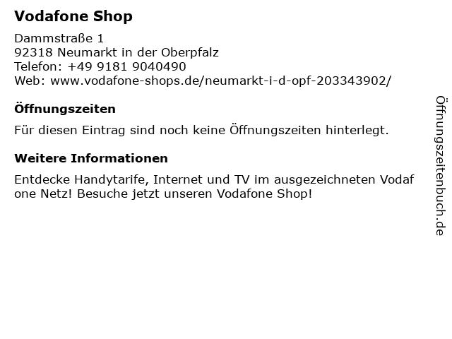 Vodafone Shop in Neumarkt in der Oberpfalz: Adresse und Öffnungszeiten